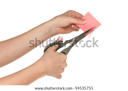 Woman hands with scissors isolated on white background