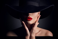 Woman Hat and Lips, Elegant Fashion Model Retro Beauty Portrait in Black