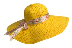 woman  hat isolated on white background .Women's beach hat . colorful hat .yellow hat .