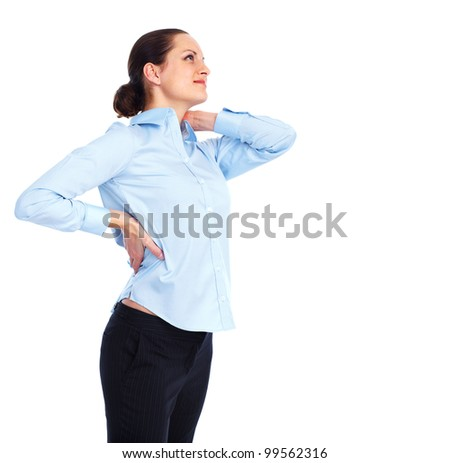 Woman having  a back pain. Isolated on white background.