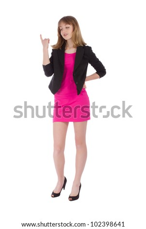 Woman having a business idea - isolated over a white background
