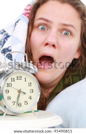Woman having a difficult morning - stock photo