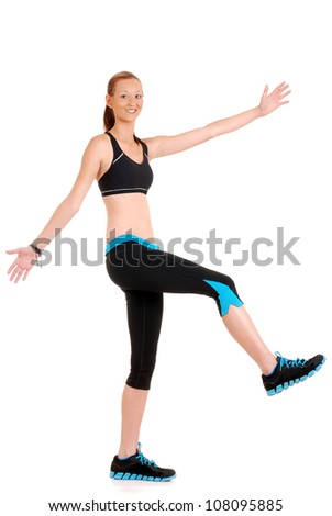 woman having fun doing fitness