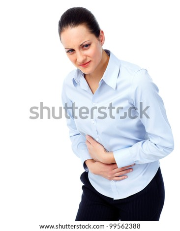 Woman having  stomach pain. Isolated on white background.