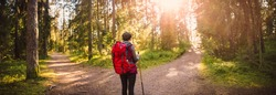 Woman hiking and going camping in nature. Concept of choosing of a right path at the wildlife area.