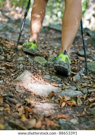 Woman hiking and nordic walking in autumn forest, exercising outdoors