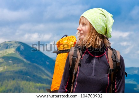 Woman hiking portrait with copy space - stock photo