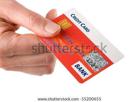 Woman hold credit card in her hand. Isolated on white background.