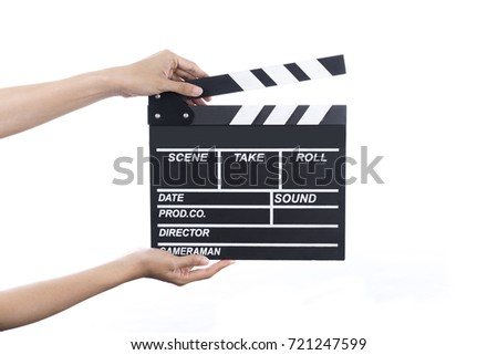 woman hold movie clapper on isolated and white background; film, cinema and video photography concept #721247599