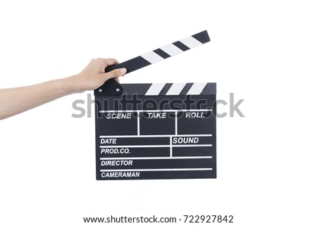 woman hold movie clapper on isolated and white background; film, cinema and video photography concept #722927842