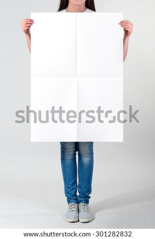 Woman holding a blank A1 poster #301282832