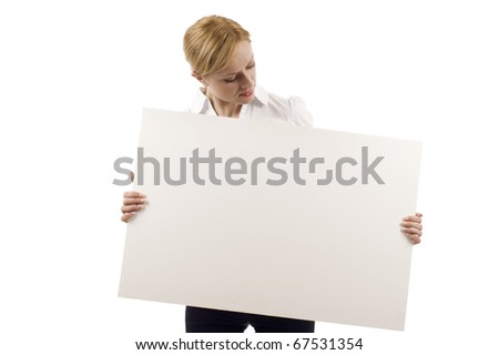 Woman holding a blank billboard isolated over white background