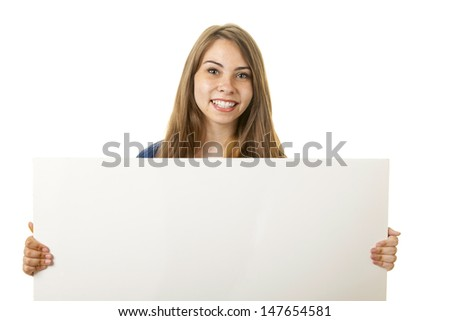 Woman holding a blank sign for your text.