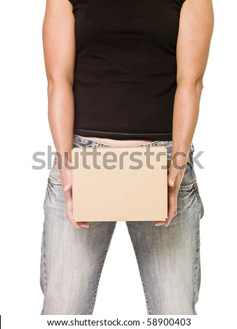 Woman holding a heavy cardboard box isolated on white background