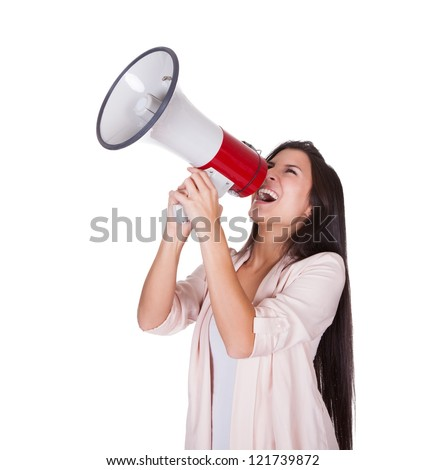 Woman holding a loud hailer above her head shouting into it with a passion isolated on white