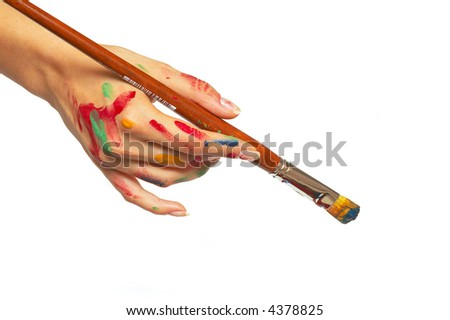 stock photo : woman holding a painting brush, female artist