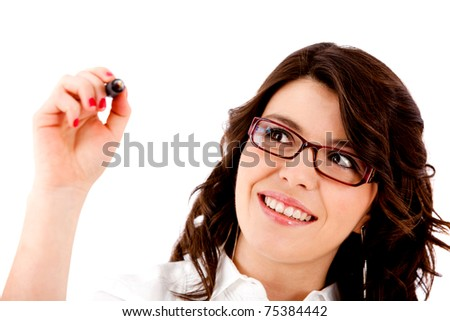 Woman holding a pen writing on an imaginary screen ? isolated