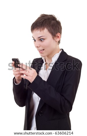 Woman holding a phone mobile and looks very shocked about news or reading a strange text message isolated on white background
