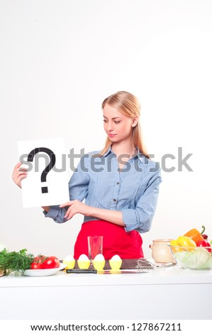 woman holding a plate with question mark