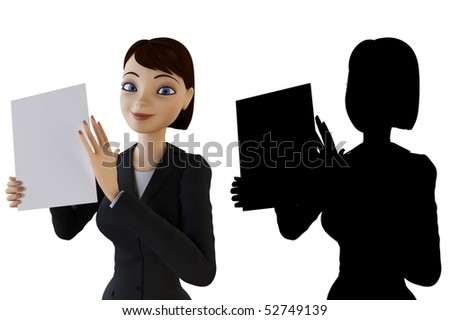 Woman holding a white panel