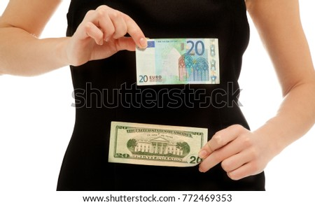 Woman holding banknote of 20 dollars and 20 euros isolated on white #772469353
