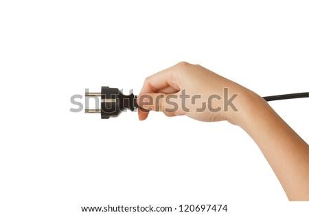 woman holding black  plug on isolate