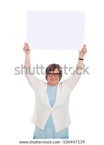 Woman holding blank banner over her head. Business concept