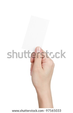 Woman holding blank business card isolated on white background