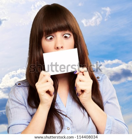 Woman Holding Blank Card, Outdoor