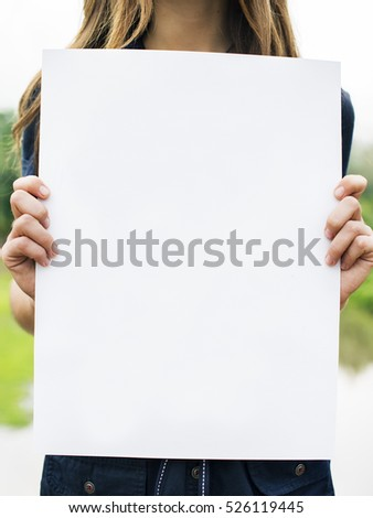 Woman Holding Blank Paper Concept #526119445