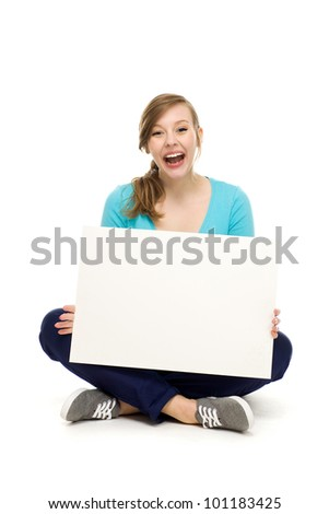 Woman holding blank poster - stock photo