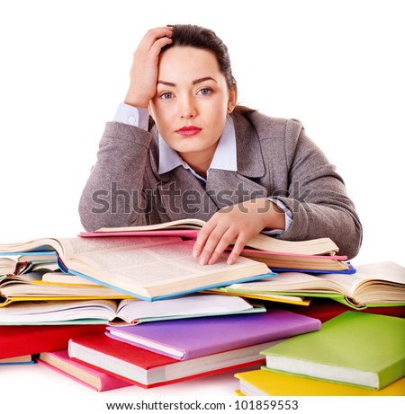 Woman holding book. Isolated.