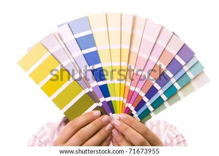 Woman holding color samples for selection