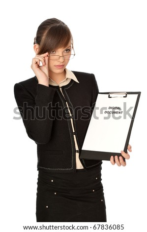 Woman holding digital document in the hand
