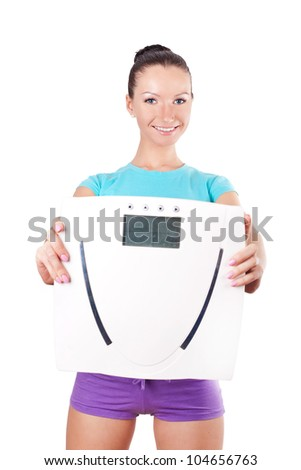 Woman holding  digital scale, portrait on white
