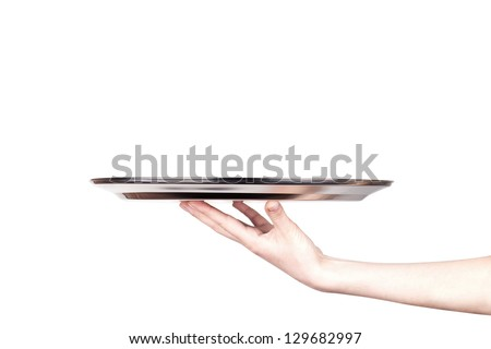 woman holding empty silver tray isolated on a white background