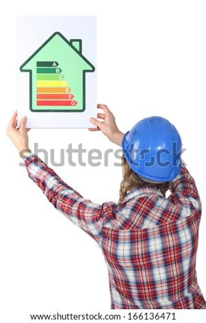Woman holding energy-saving drawing