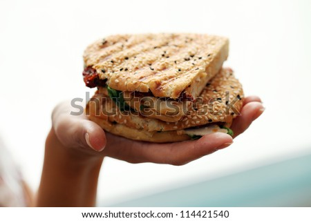 Woman holding fresh sandwich in her hand