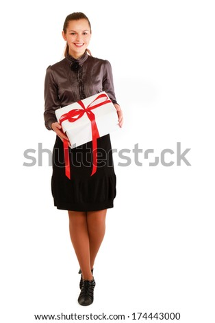 Woman holding gift box isolated on white background