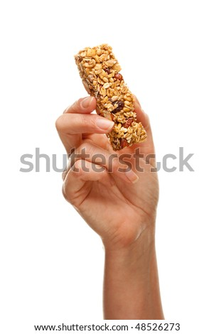 Woman Holding Granola Bar Isolated on a White Background.