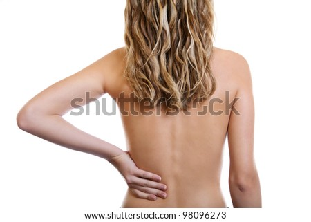 Woman holding her painful back