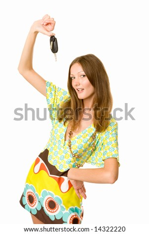 woman holding keys to her car