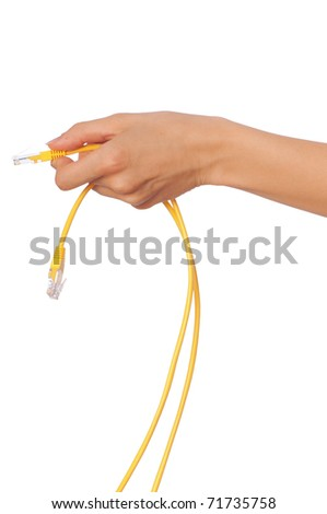 woman holding LAN cords in the hand