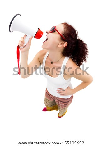 Woman holding megaphone and yelling, fisheye lens, studio shot