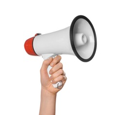 Woman holding megaphone on white background