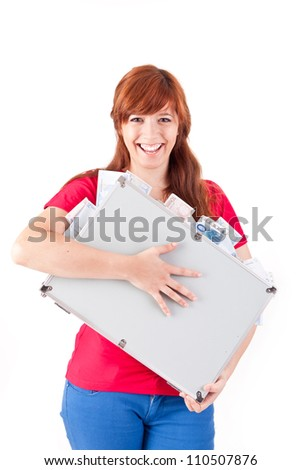 Woman holding metal grey case with money