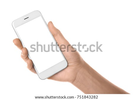 Woman holding mobile phone with blank screen on white background