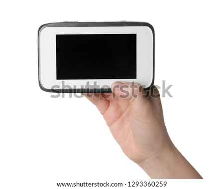 Woman holding modern monitor on white background, closeup, space for text. CCTV equipment #1293360259