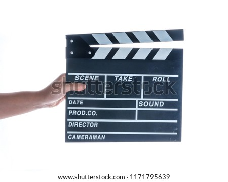 Woman holding movie production clapper board isolated on a white background #1171795639