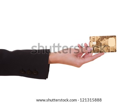 Woman holding out a credit card. Close cropped shot over white